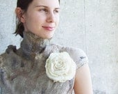 Brooch Felted white rose, eco friendly soft wool flower ivory cream Wedding bridesmaid oht earth gift idea summer fashion