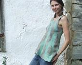Felted mint grey tunic - shirt very soft, 100% handfelt, OOAK, eco friendly ready to ship