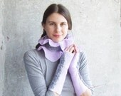 Winter sale. Wool scarf lavender felt collar denim OOAK ruffle grey winter fashion