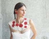 Poppy necklace, felted bib collar, neck piece, poppies field