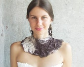 Brown felt necklace, felted wool bib collar, neck piece, rustic wedding holiday gift under 50