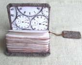SALE . Steampunk men's journal spokes wheel Felted brown earth notebook shabby chic paper with clock steampunk bookmark Gears Sprocket Watch