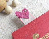 Pink heart bookmark for Valentines day. Felted and scrapbook, for her him unisex loveOOAK