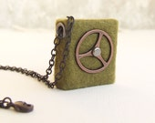 Mini book green necklace steampunk journal jewelry. Valentines day gift felted olive mini felt notebook, shabby chic paper OOAK spring trend