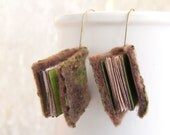 Mini book green woodland earrings journal. Valentines day gift felted olive mini felt notebook, shabby chic paper OOAK spring trends