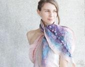Wool and silk scarf shibori purple blush scarf shawl, gift idea oht for her mom mothers day spring fashion nuno felt wool