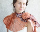 Felted scarf with rose brooch, brown coral peach salmon nunofelting wool gift idea oht for her fall autumn fashion