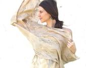 Felted beige shawl scarf felting wool luxury cape gold honey pastel wedding bridesmaid fashion boho baymut cij