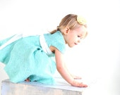 Mint dress for flower girl with silk bow felted baby girl blue dress super soft, 2 year 2T, gift idea for birthday
