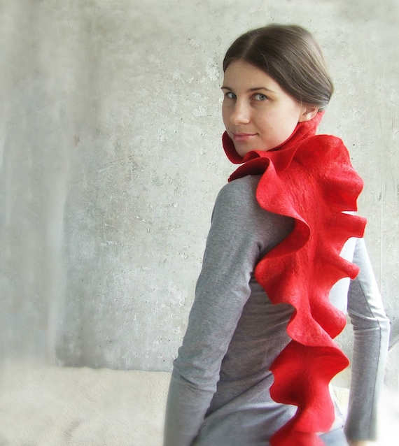 Red scarf felted wool ruffle free gift wrap Weddings Valentines day gift idea with love for her