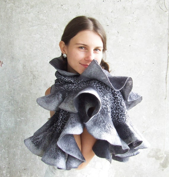 SALE... Grey leopard felting shawl ombre scarf wool ruffles free gift wrap luxury oht mothers day mom idea for her spring fashion