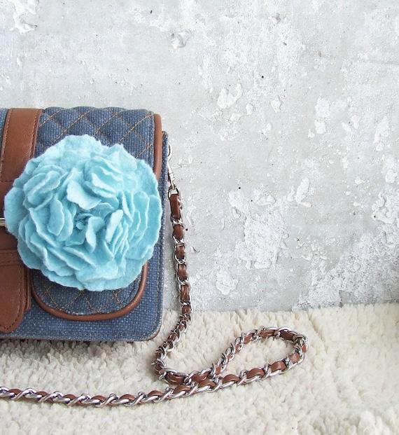 Felted blue brooch flower hair clips bag clip Wedding shabby chic bridesmaid idea for mom Valentines day gift idea shabby chic