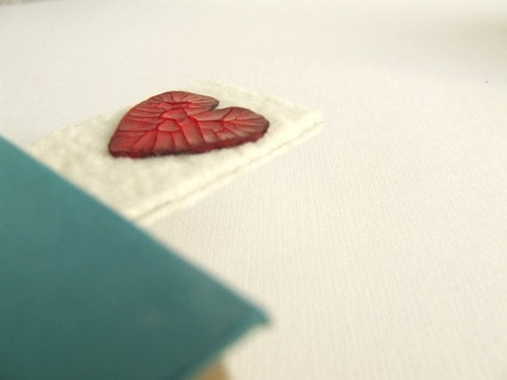 Red heart bookmark. Felted and scrapbook, for her him unisex OOAK shabby chic