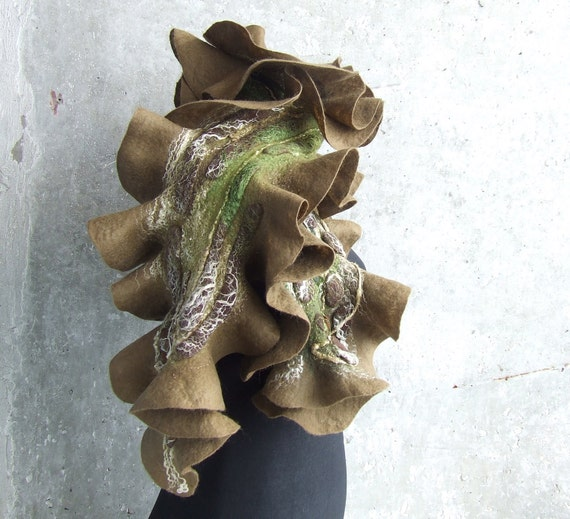 Woodland scarf, felted brown and green rustic wool OOAK, ready to ship autumn country fall autumn fashion