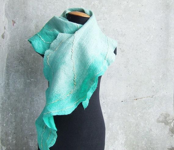 SALE... Aqua shawl wool scarf felting mint turquoise ombre aquamarine, cyan weddings idea mint OOAK spring fashion mothers day