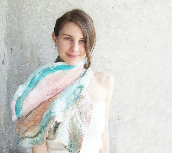 Textured felted scarf mint and tangerine shawl, teal pink salmon turquoise blue gift idea oht for her mom mothers day spring fashion