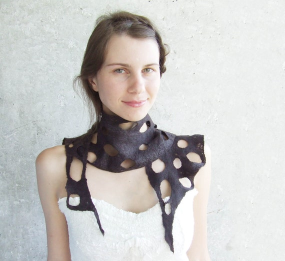 Modern brown scarf , chocolate hole lace wool gift idea oht for her mom mothers day necklace summer fashion