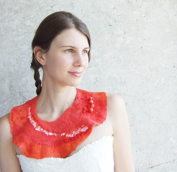 RESERVED Bright pink statement  felt necklace, felted wool bib collar, neck piece, pink scarf weddings fall autumn fashion oht