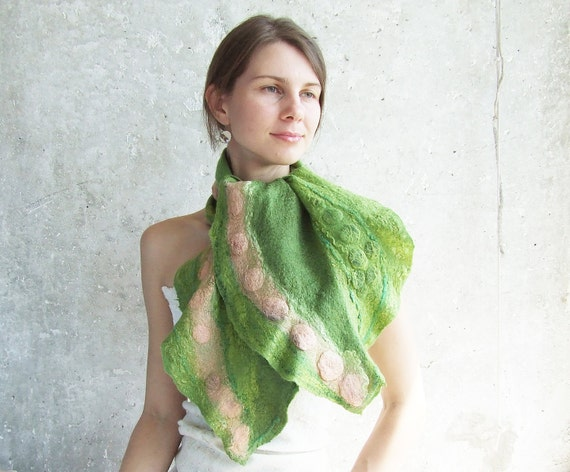 Green felting scarf shawl, lime coral pink winter fashion felted wool oht fall autumn