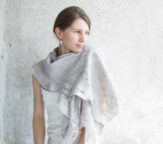 Silver grey shawl scarf for all seasons felting wool luxury cape wedding bridesmaid idea for her winter fashion cij
