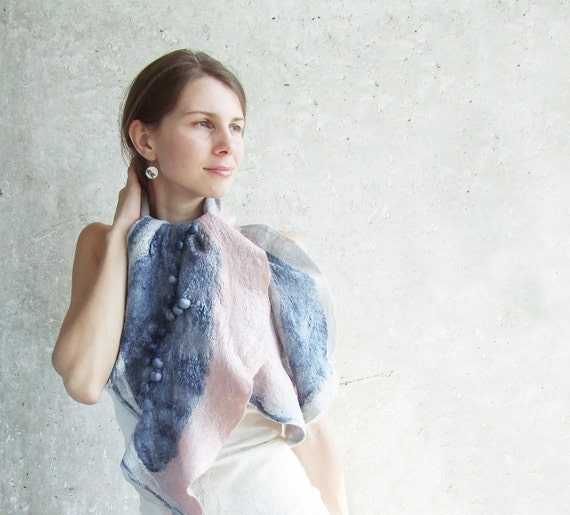 Reserved item Shibori felted scarf shawl, pale pink blush and grey blue wool winter fashion nuno felting