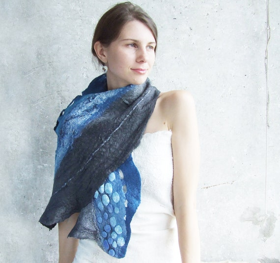 Blue and grey felted scarf shawl, navy blue wool fall autumn winter fashion nuno felting oht