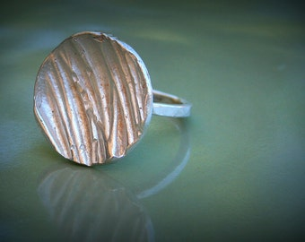 Silver coin ring - antique chic, antique like silver ring