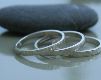 Thin Silver Stacking Rings - Trio - Hammered and Texured Thin rings
