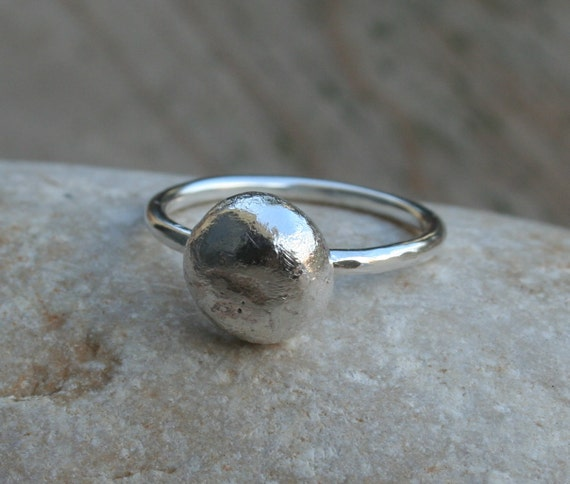 Recycled Silver ring - Sterling silver pebble ring