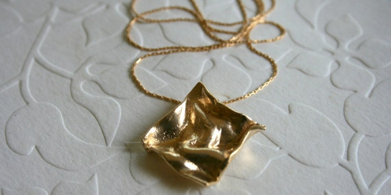 Wrinkles - Gold necklace - gold pendant and gold filled chain