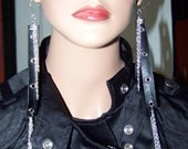 12 inch Rockin Long Black Belt Hole and Chain Handmade Dangly Earrings HOT