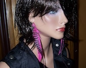 "Feather Extension Earrings Hot Pink and Grizzly 13"" LONG"