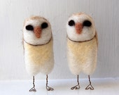 RESERVED for hollycloward: Barn Owls Needle Felted Figurines