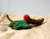 Needle Felted Caterpillar and Leaf Nature Figurine