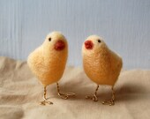 RESERVED -- Baby Chicks Needle Felted Animal Figurines
