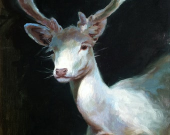 White Stag II - Oil Painting - Limited Edition Print
