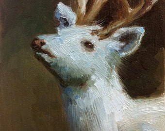 Sweet Little White Stag - Open Edition Print