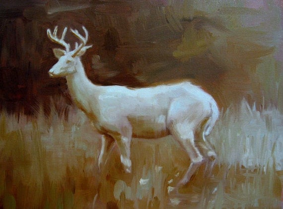 White Stag - Oil Painting - archivial print of original oil painting