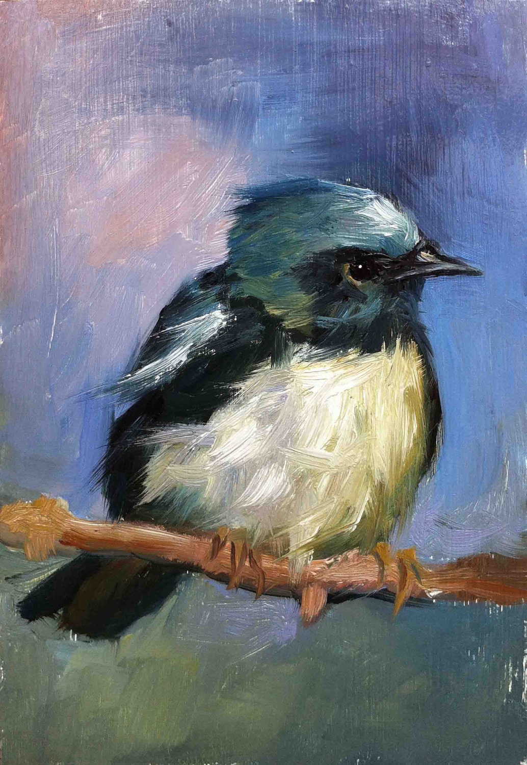 Black throated blue warbler original oil painting for Blue paintings on canvas