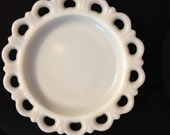 2 Vintage Milk Glass 1950s Laced Scalloped Heart Dessert Serving Plates Shabby Chic Cottage Chic and Romantic