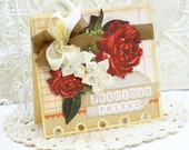 ON SALE -- Precious Friend -- vintage-fashion deep red roses on a handmade card