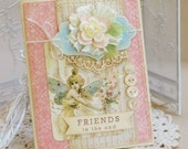 ON SALE -- Friends to the End -- vintage shabby chic handmade card