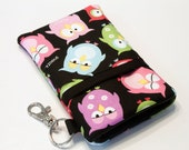 Custom fabric cell phone holder, iPhone 6 6s Plus, iPhone 7 plus, 5 5s 5c 4s smartphone, wallet, case, purse, sleeve, pouch-Snoozin' Hooters