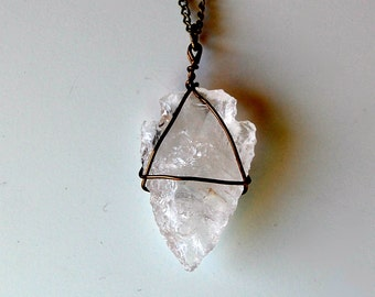 CALYPSO carved crystal quartz arrowhead necklace