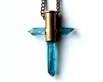 Aqua aura crystal cross bullet necklace