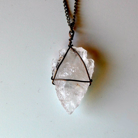 CALYPSO carved crystal quartz arrowhead necklace