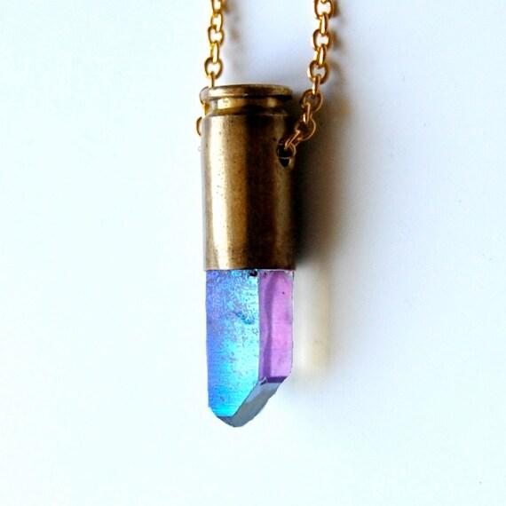 ZANIAH rainbow opal angel aura bullet crystal necklace