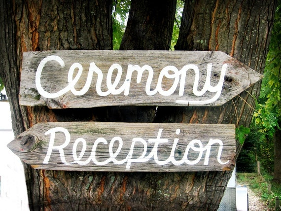 CUSTOMIZED Barn Wood Ceremony and Reception Signs
