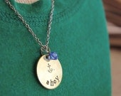 Personalized Hand Stamped Metal Necklace - Nautical - Ahoy - Navy Necklace