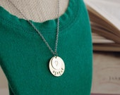 Personalized Hand Stamped Necklace - Sister - Heart Necklace